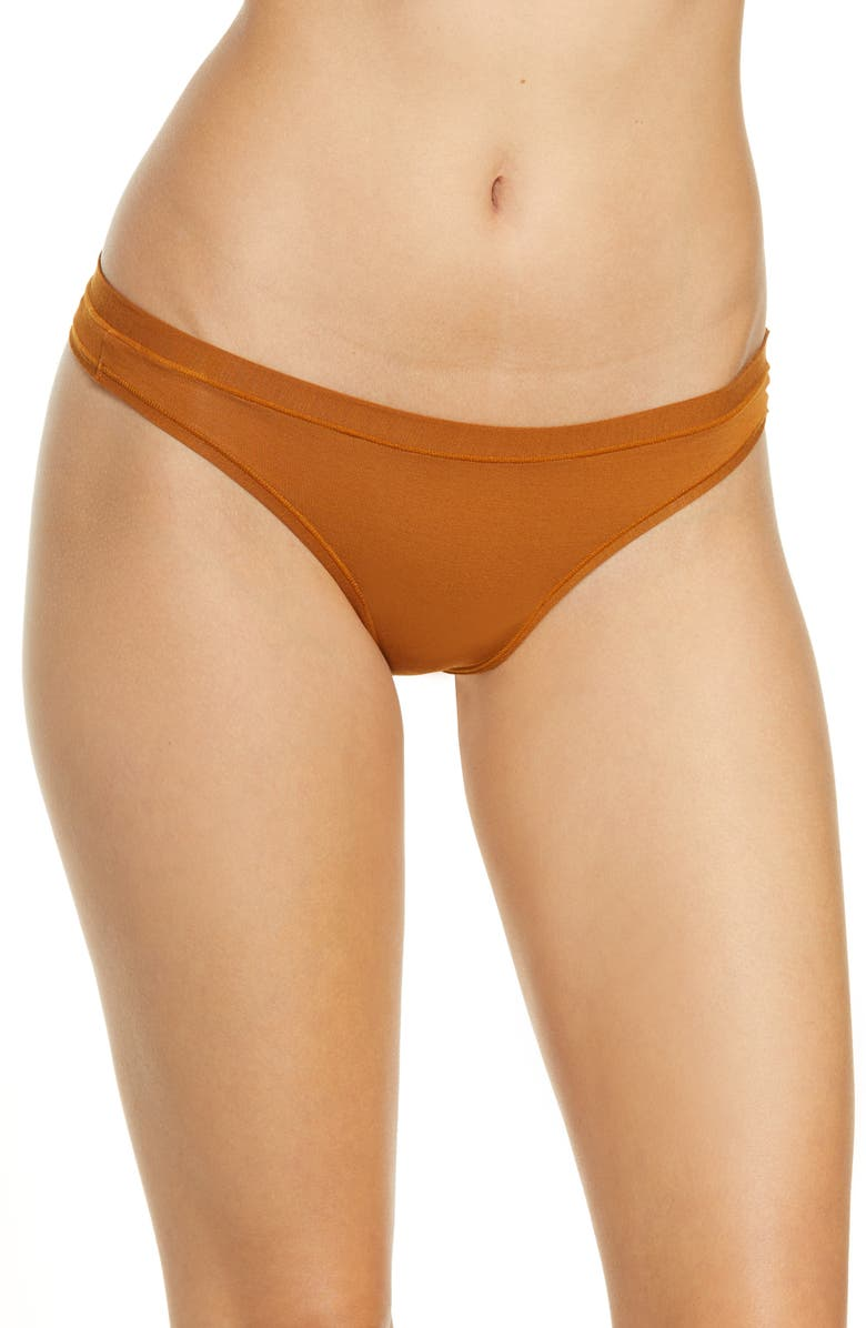 MADEWELL Infinite Stretch Modal Thong, Main, color, GOLDEN PECAN
