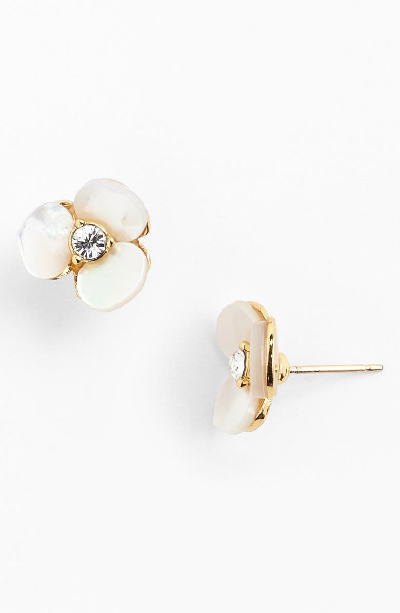 KATE SPADE NEW YORK disco pansy stud earrings, Main, color, CREAM/ CLEAR/ GOLD