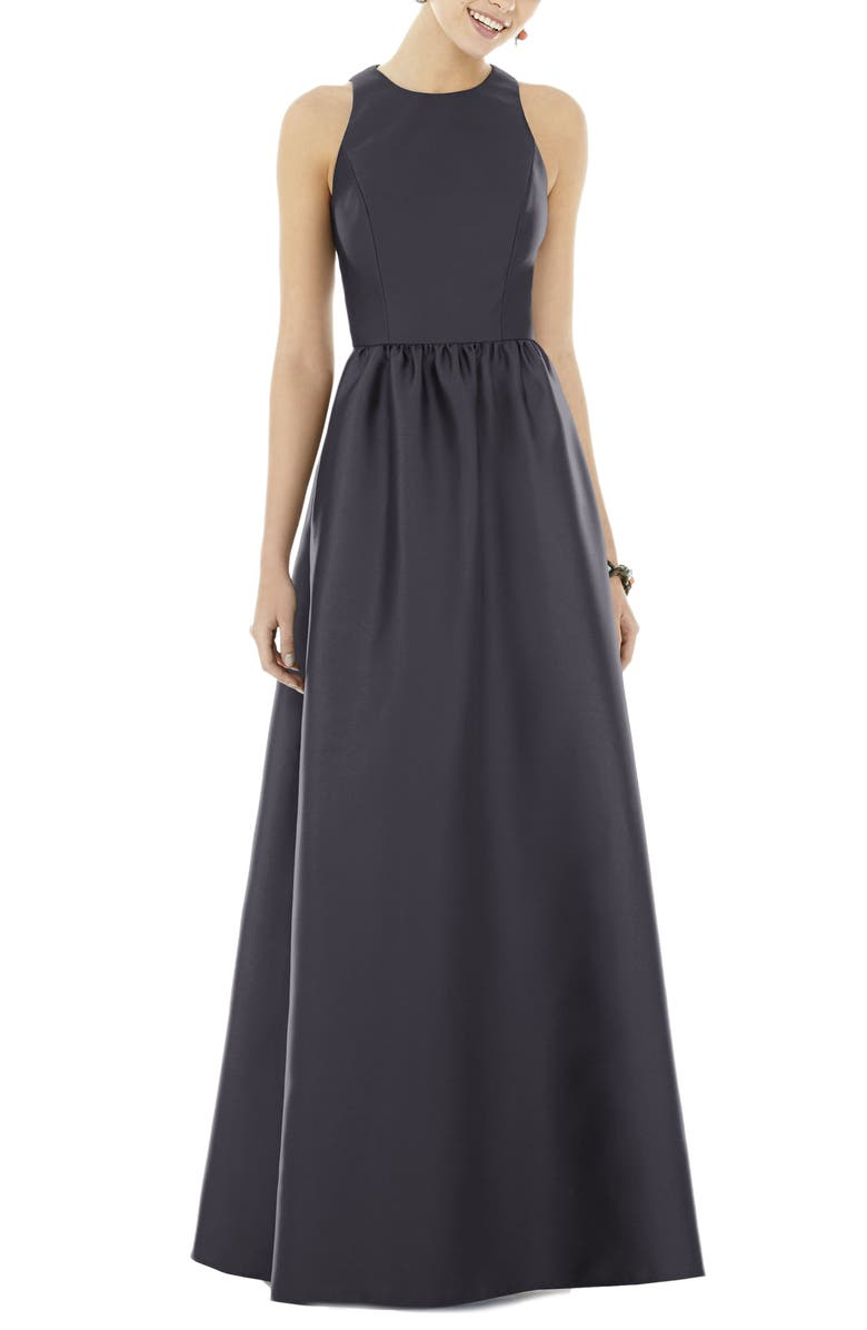 ALFRED SUNG Satin A-Line Gown, Main, color, ONYX