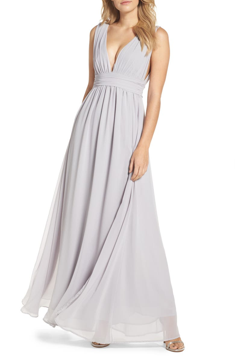 LULUS Plunging V-Neck Chiffon Gown, Main, color, 020