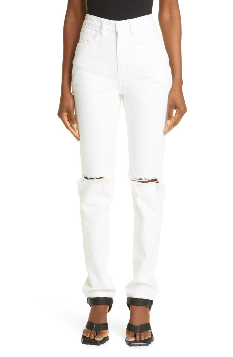 ALEXANDER WANG Ripped High Waist Dipped Back Jeans, Main, color, WHITE
