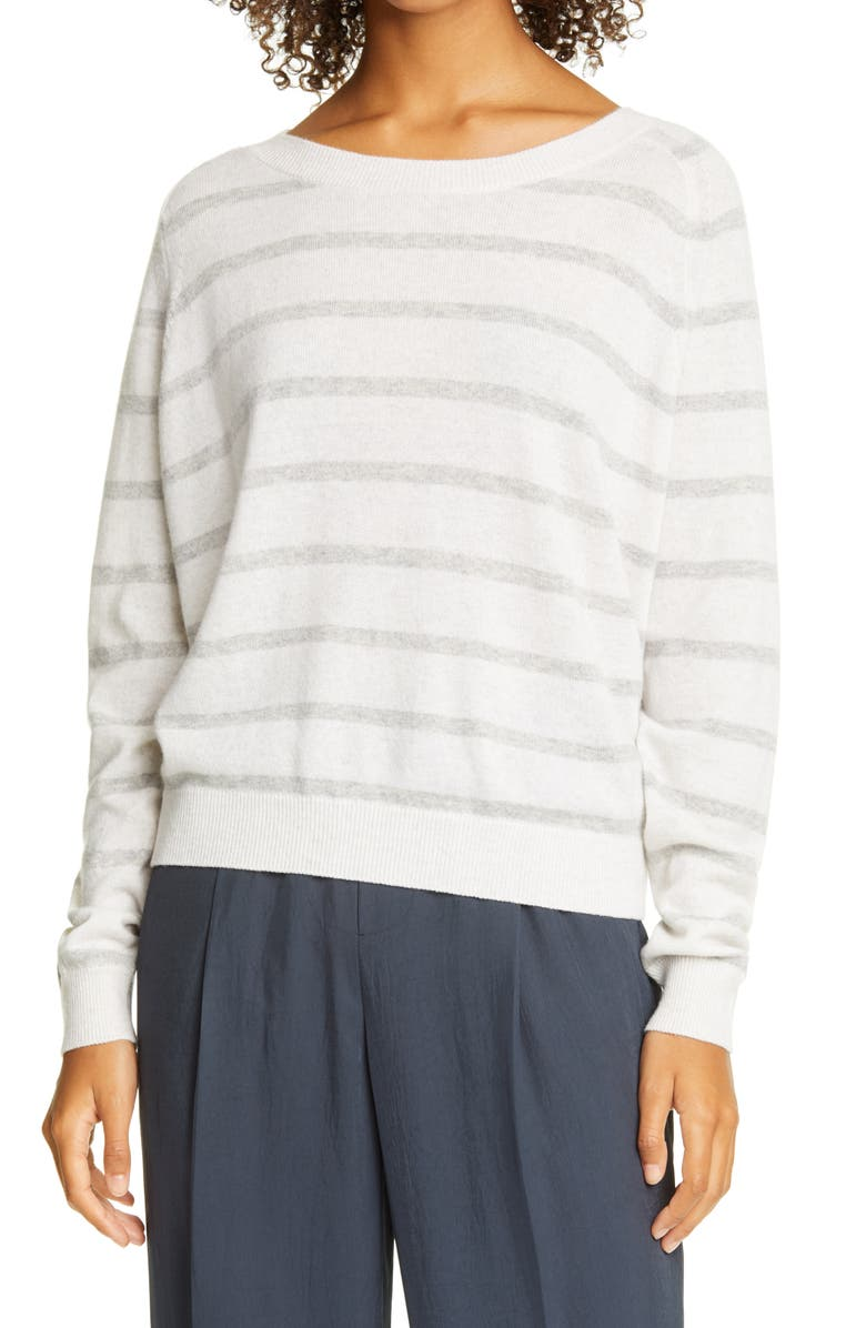 VINCE Stripe Wool & Cashmere Sweater, Main, color, HEATHER WHITE/ HEATHER GREY