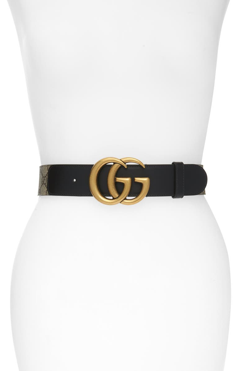 GUCCI GG Supreme Canvas Belt, Main, color, 001
