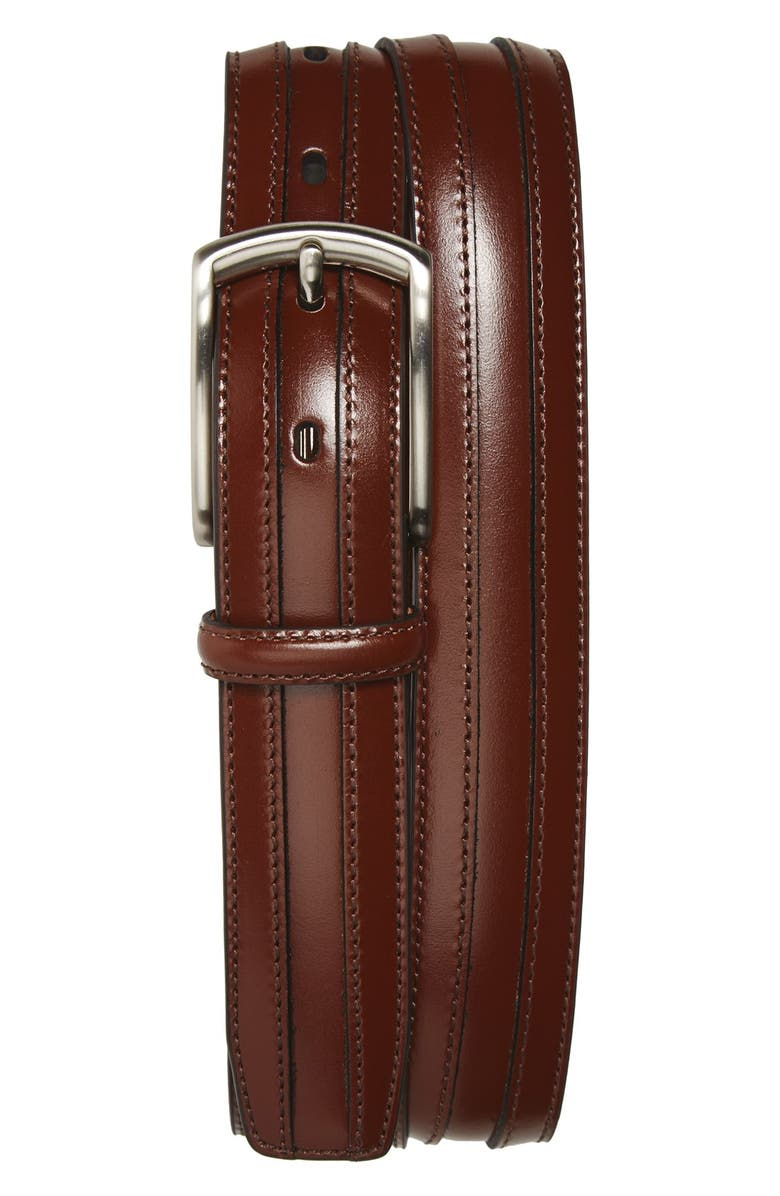 JOHNSTON & MURPHY Calfskin Belt, Main, color, CHESTNUT