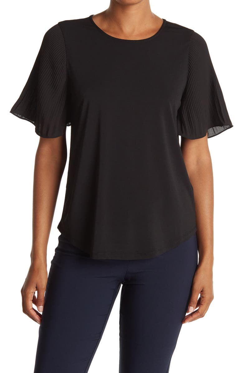 ADRIANNA PAPELL Pleated Woven Short Sleeve Top, Main, color, BLACK