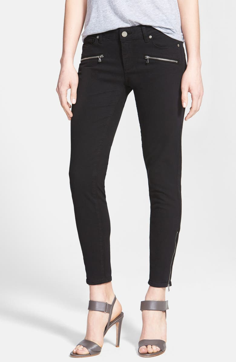 PAIGE Denim 'Jane' Zip Detail Ultra Skinny Jeans, Main, color, 001