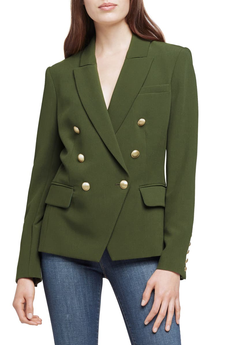 L'AGENCE Kenzie Double Breasted Blazer, Main, color, DARK MOSS