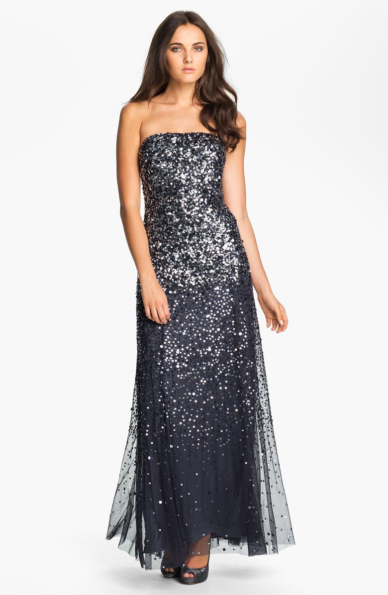 ADRIANNA PAPELL Sequined Strapless Mesh Gown, Main, color, 020