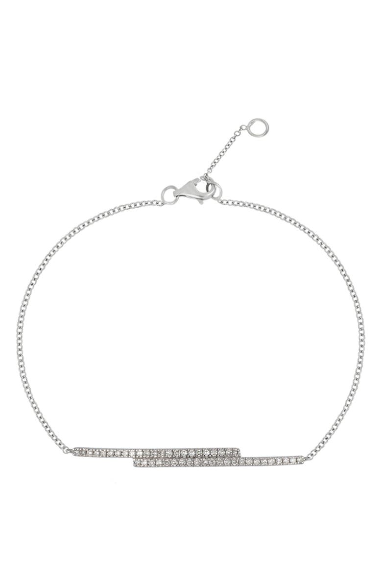 CARRIERE JEWELRY Sterling Silver Pave Diamond Double Bar Bracelet - 0.18 ctw, Main, color, AG 925