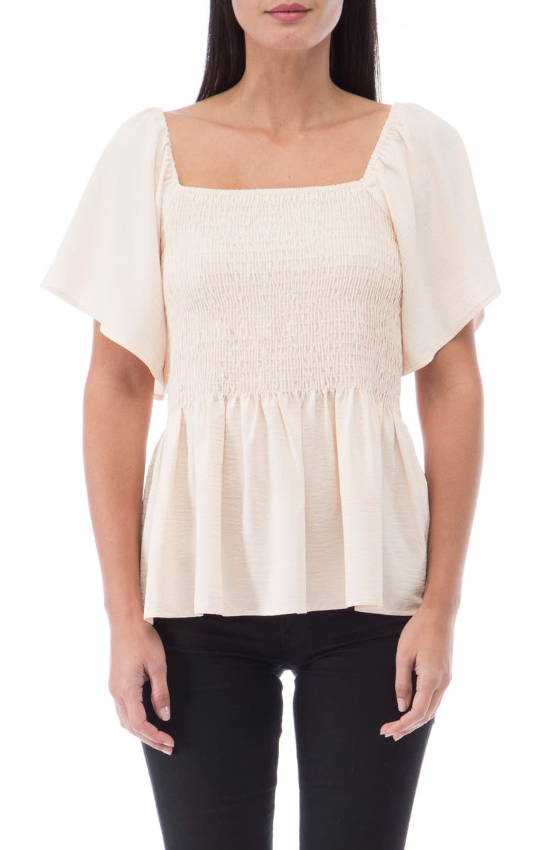 BOBEAU Smocked Peplum Top, Main, color, SAND