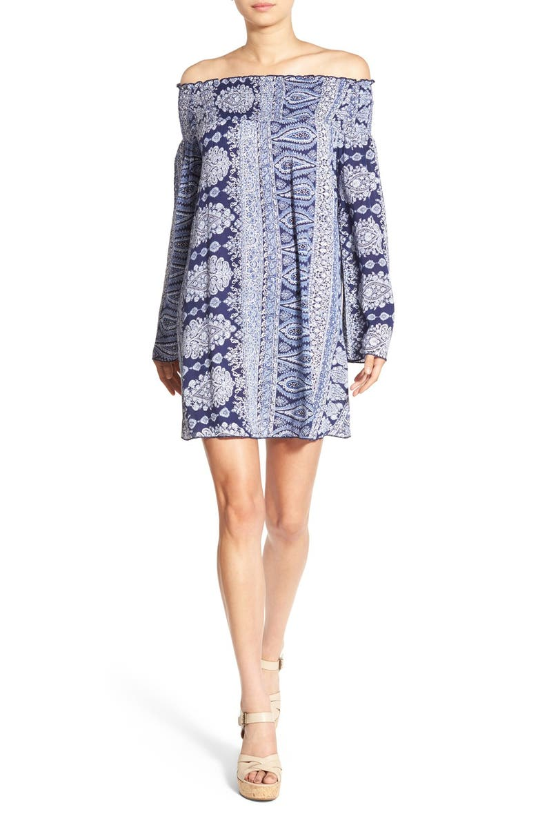 BAND OF GYPSIES Paisley Off the Shoulder Shift Dress, Main, color, 411