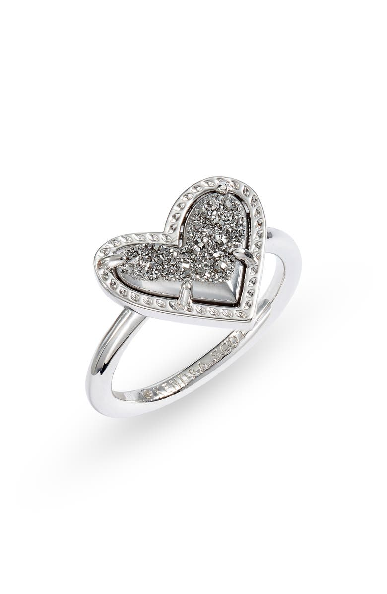 KENDRA SCOTT Ari Heart Ring, Main, color, RHODIUM PLATINUM DRUSY