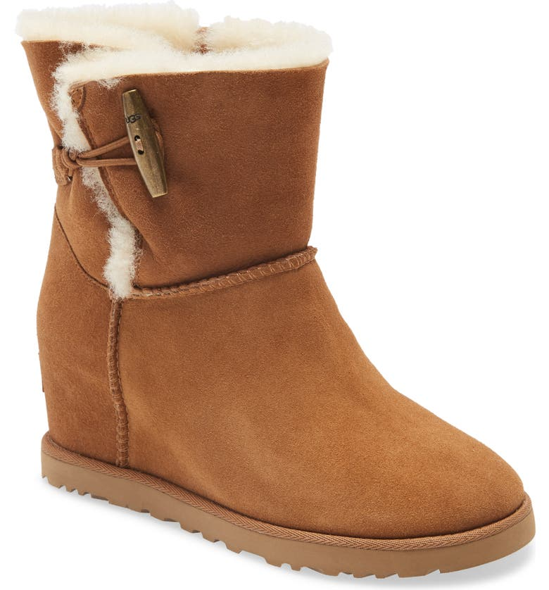 UGG<SUP>®</SUP> Classic Femme Toggle Wedge Boot, Main, color, CHESTNUT SUEDE