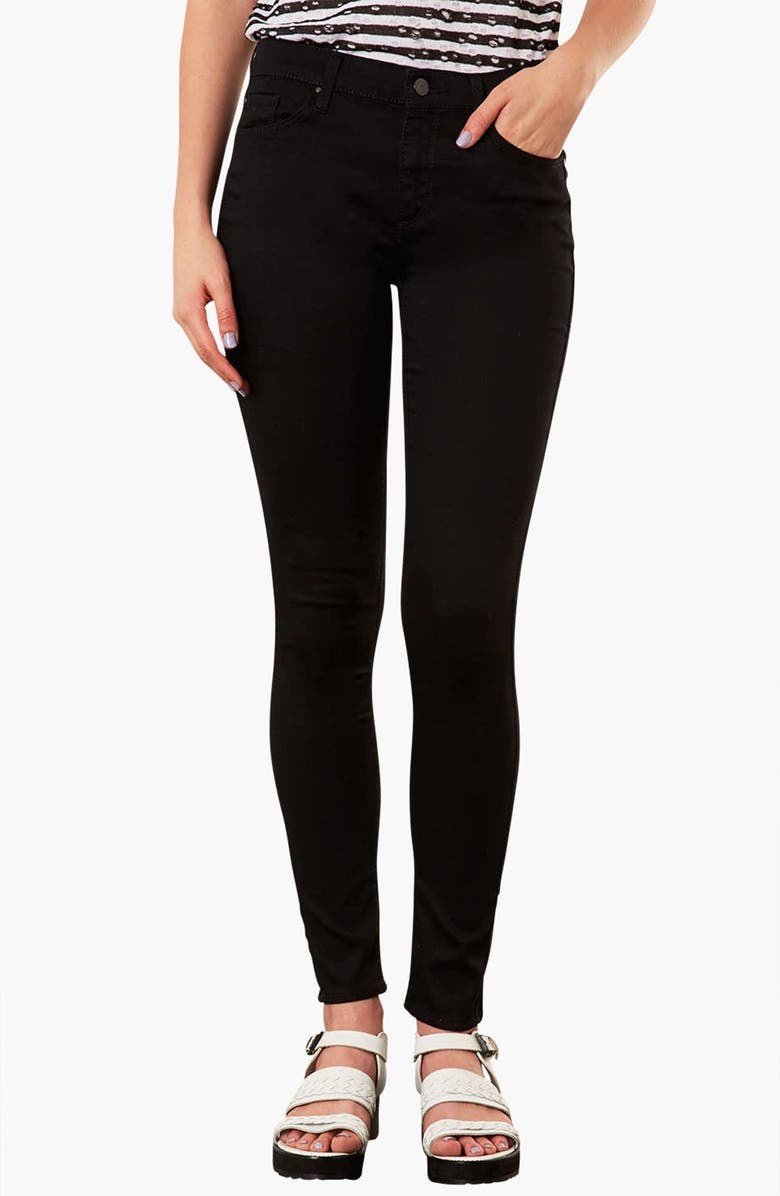 TOPSHOP 'Leigh' Skinny Jeans, Main, color, Black