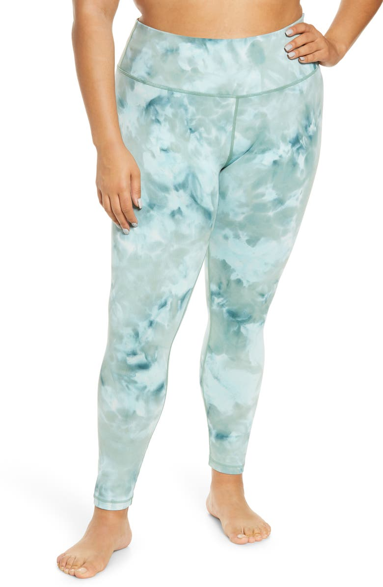 ZELLA Live In Spray Dye High Waist Leggings, Main, color, GREEN TOPIARY