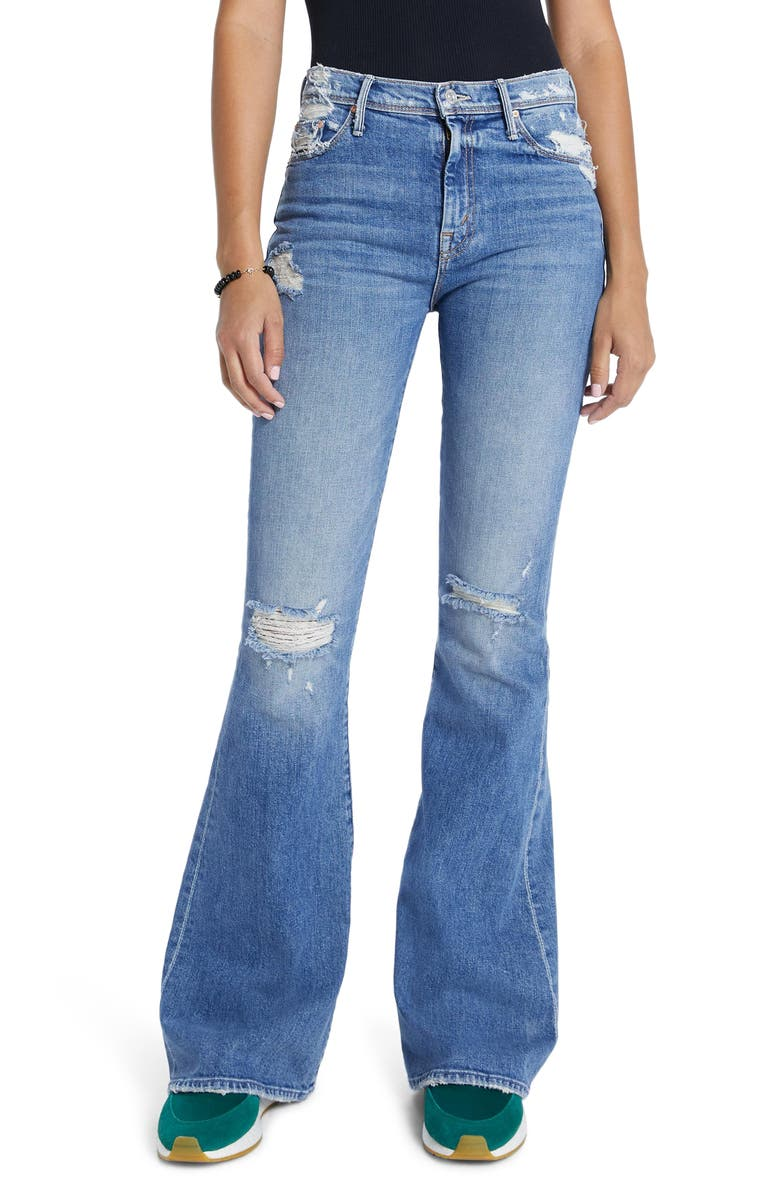 MOTHER The Super Cruiser Ripped High Waist Flare Jeans, Main, color, ON HOLY GROUND