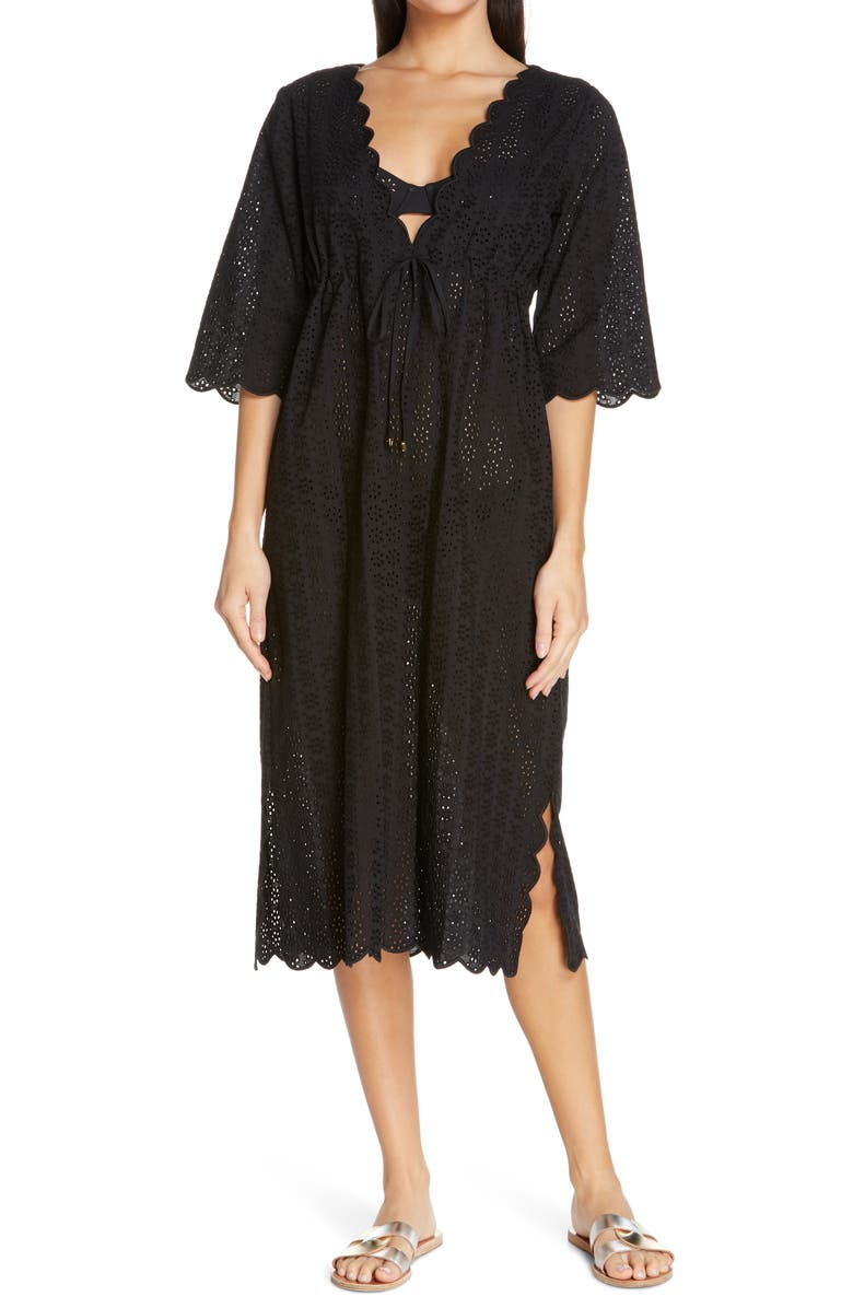 TORY BURCH Broderie Midi Cover-Up Dress, Main, color, 001