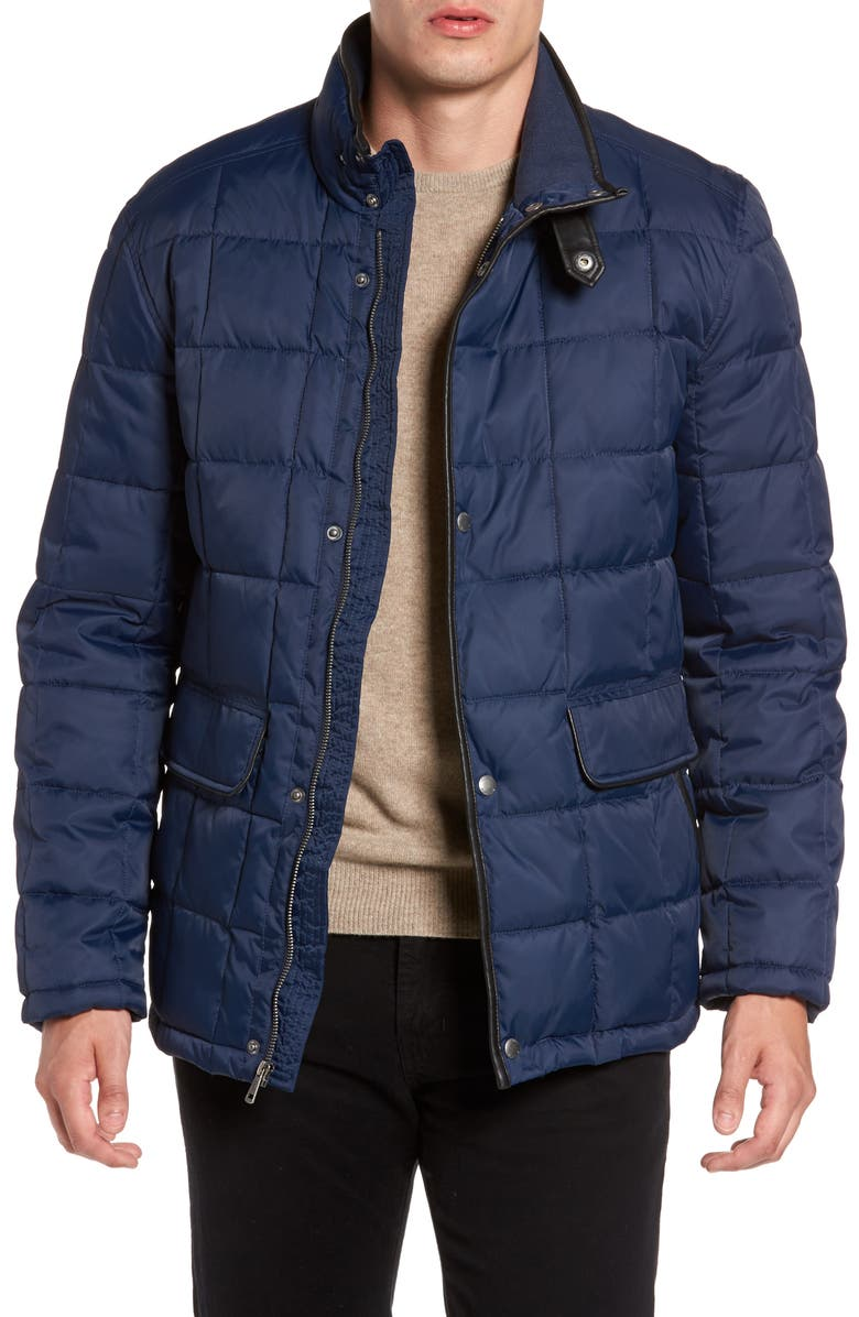 COLE HAAN Box Quilted Jacket, Main, color, NAVY