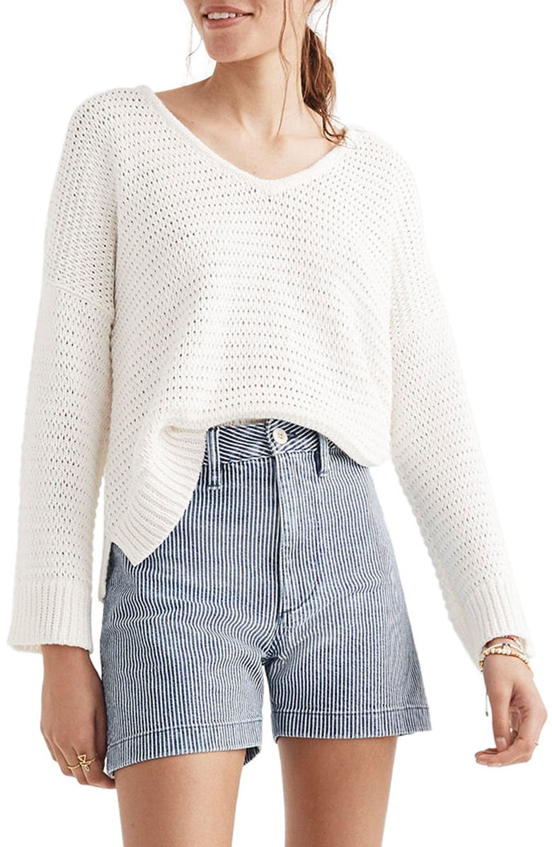 MADEWELL Breezeway Pullover Sweater, Main, color, 100