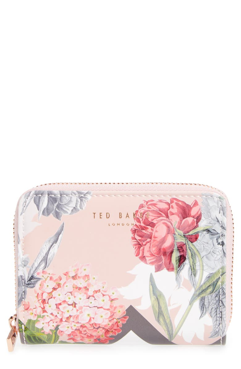 TED BAKER LONDON Darla Palace Gardens Leather Zip Coin Purse, Main, color, DUSKY PINK