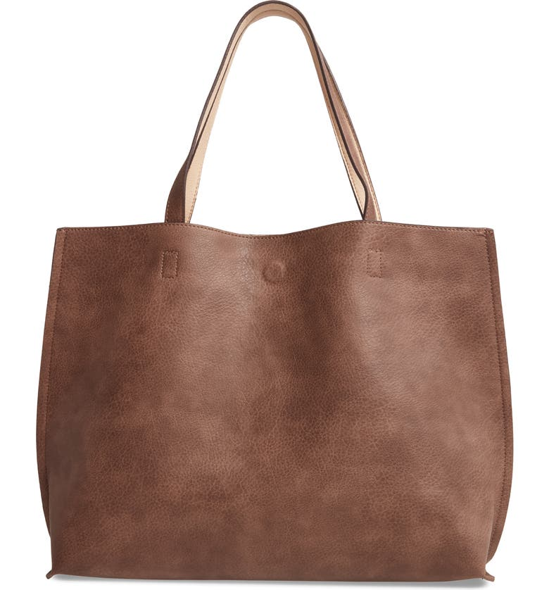 STREET LEVEL Reversible Faux Leather Tote & Wristlet, Main, color, TAUPE/ IVORY