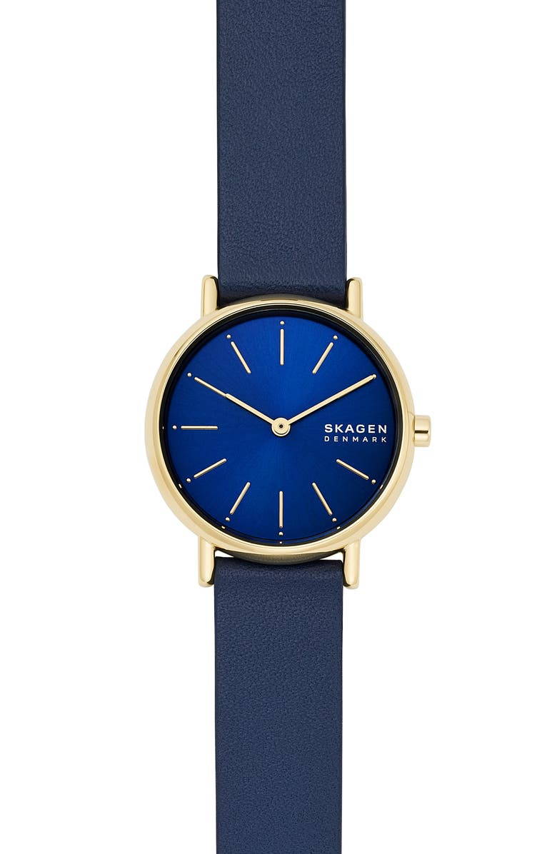 SKAGEN Signatur Leather Strap Watch, 30mm, Main, color, 400