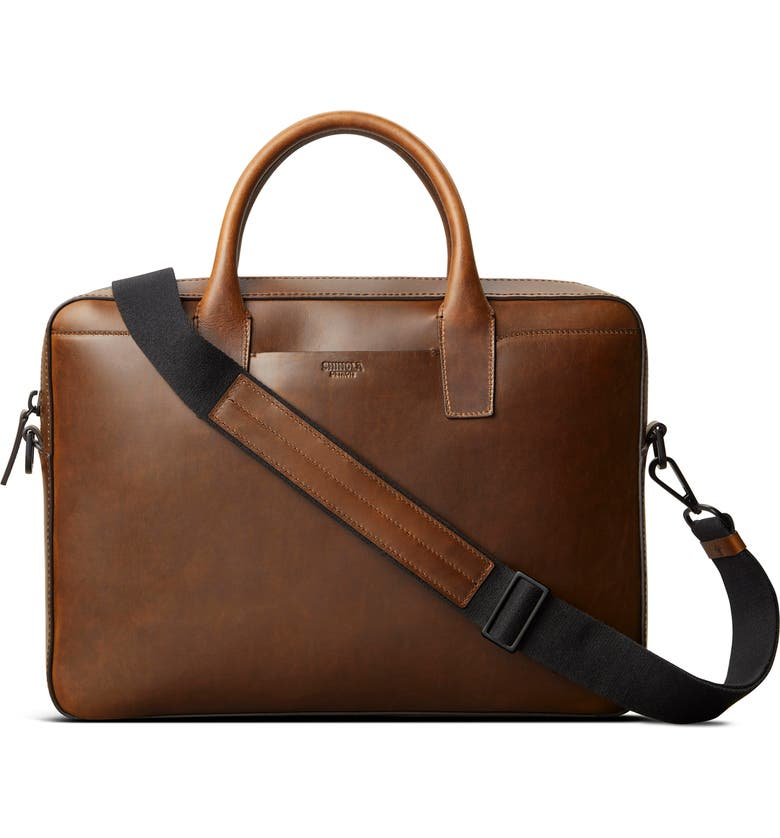 SHINOLA Fulton Navigator Leather Briefcase, Main, color, MED BROWN