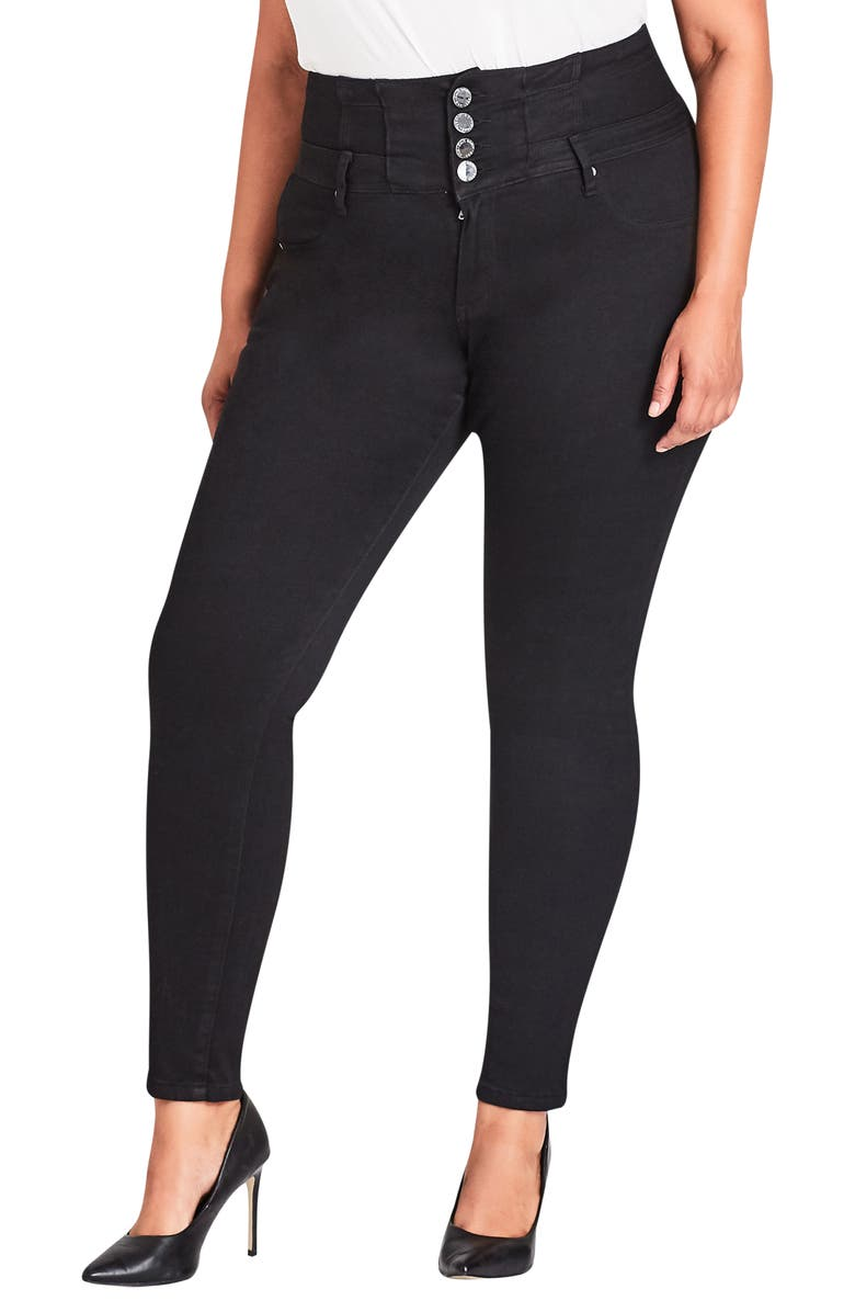 CITY CHIC Harley Corset Waist Stretch Skinny Jeans, Main, color, 001