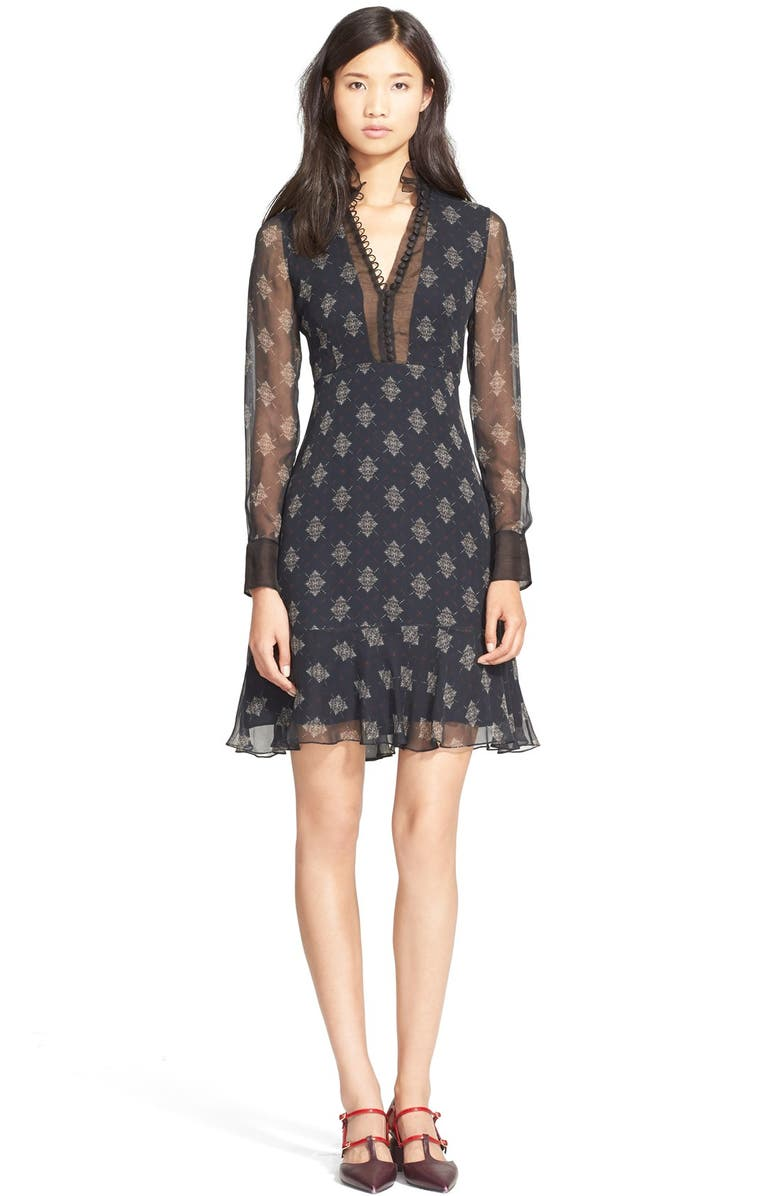 ERDEM Belted Print Silk Crepe Shirtdress with Ruffle Details, Main, color, 413