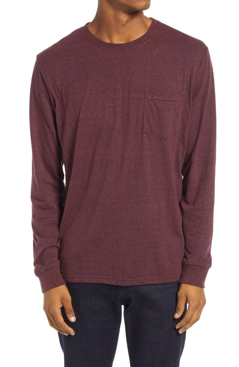 THREADS 4 THOUGHT Threads for Thought Pocket Crew T-Shirt, Main, color, MAROON RUST