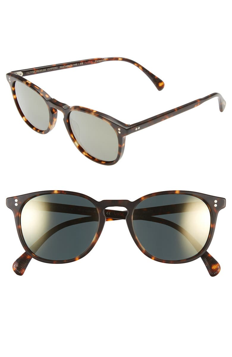 OLIVER PEOPLES 'Finley' 51mm Polarized Sunglasses, Main, color, BROWN/ TORTOISE/ GOLD POLAR