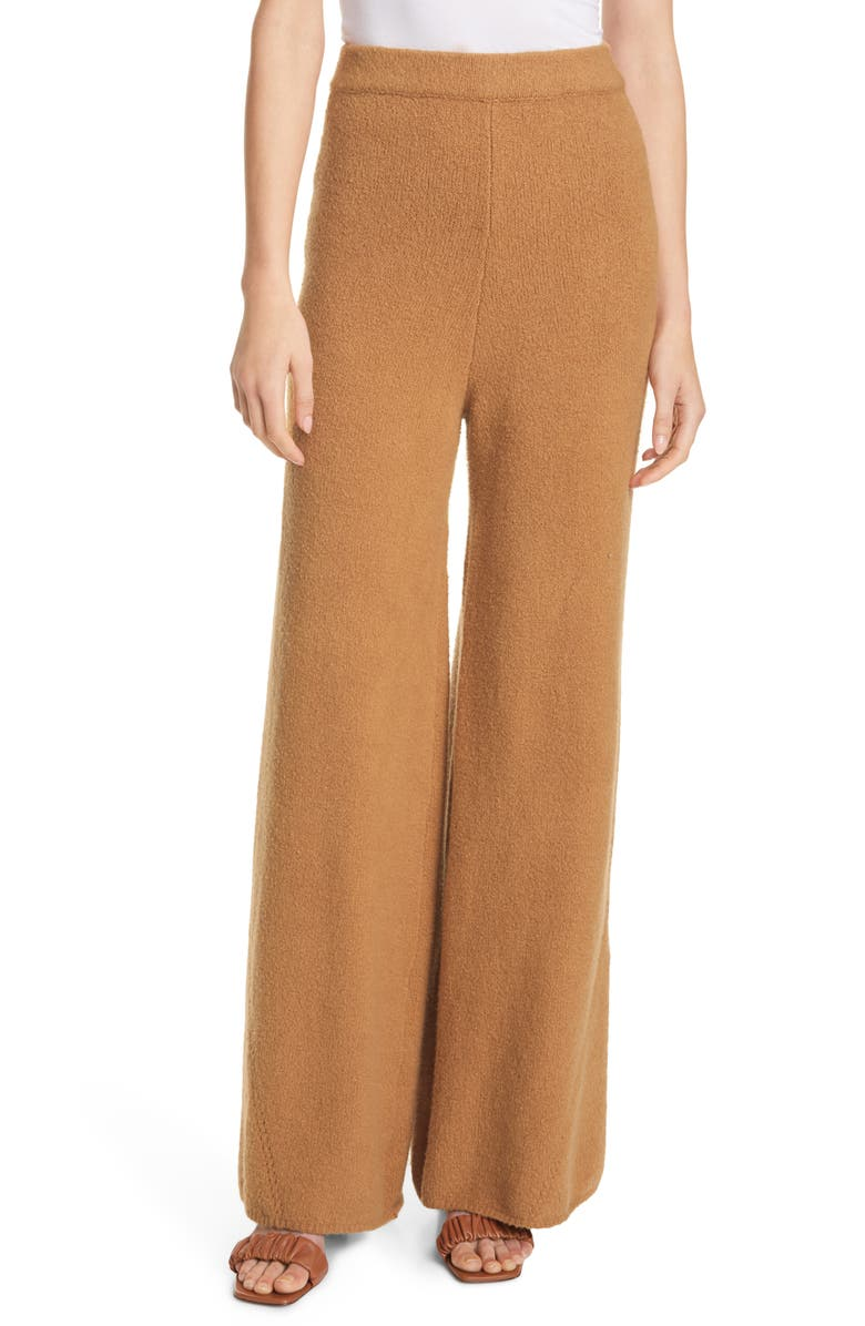 STAUD Mitch Wide Leg Knit Pants, Main, color, WHISKEY