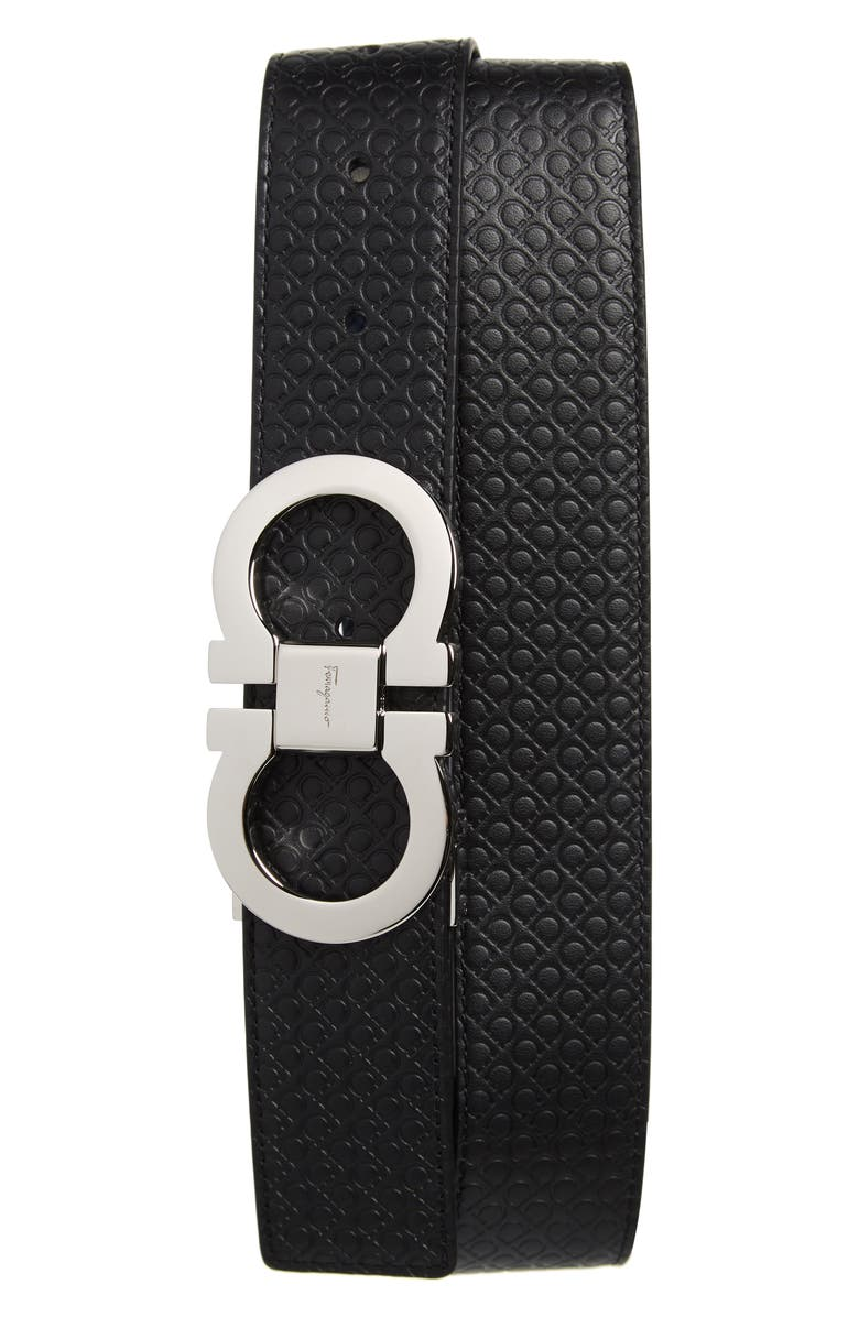 SALVATORE FERRAGAMO Gancini Embossed Reversible Leather Belt, Main, color, 001