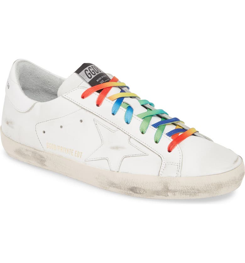 GOLDEN GOOSE Rainbow Super-Star Sneaker, Main, color, WHITE RAINBOW