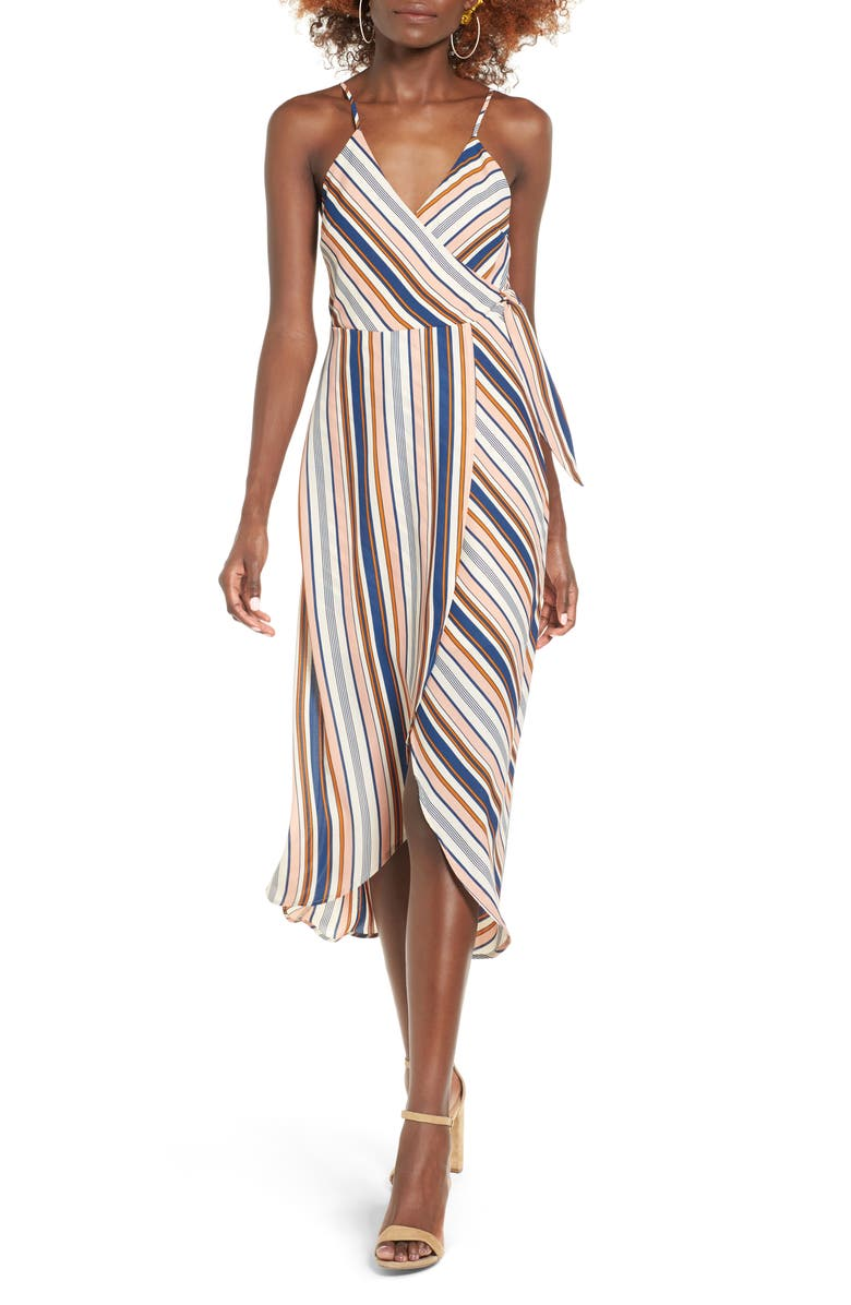DEE ELLY Stripe Surplice Dress, Main, color, 660