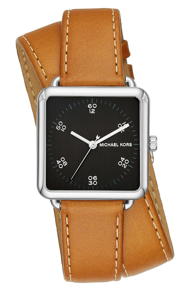 MICHAEL MICHAEL KORS 'Brenner' Square Leather Strap Watch, 31mm, Main, color, BROWN/ BLACK