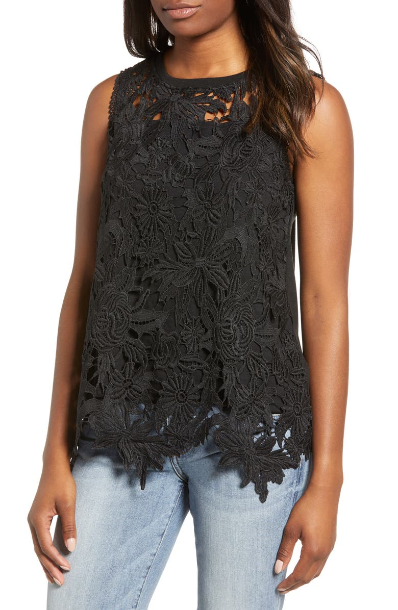 EVERLEIGH Lace Front Sleeveless Top, Main, color, BLACK