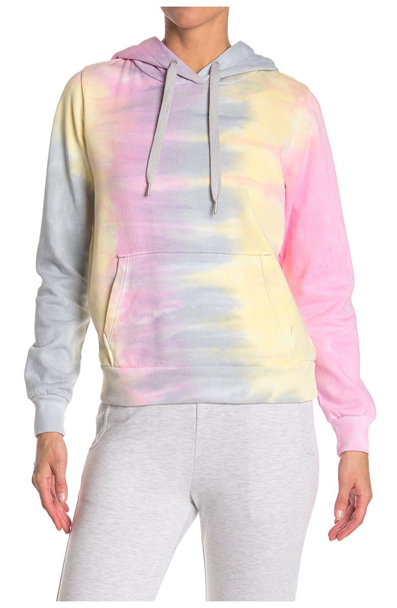 90 DEGREE BY REFLEX Tie-Dye Brushed Pullover Hoodie, Main, color, 000