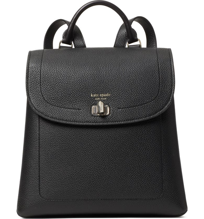KATE SPADE NEW YORK medium essential leather backpack, Main, color, 001