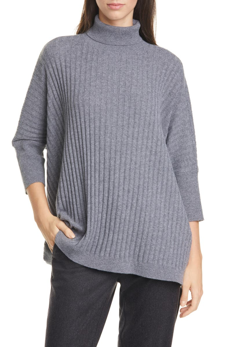EILEEN FISHER Dolman Sleeve Cashmere Sweater, Main, color, 030