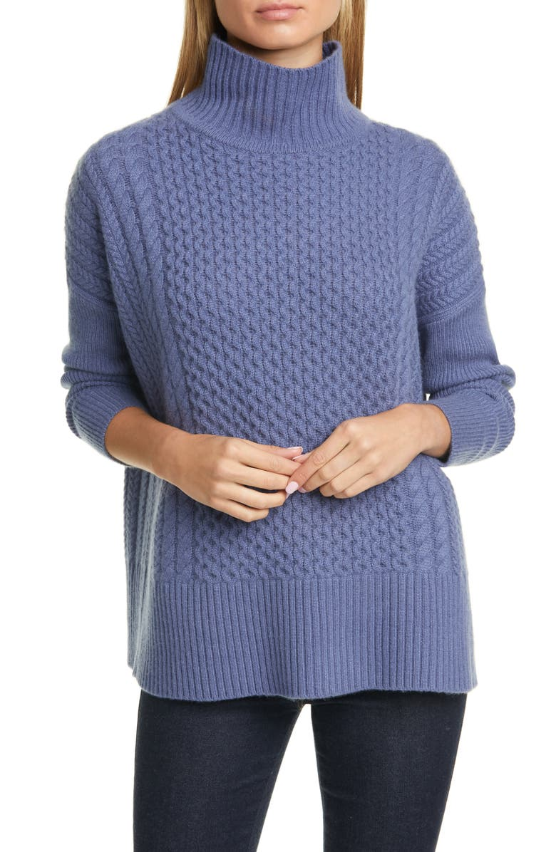 NORDSTROM SIGNATURE Cable Knit Mock Neck Cashmere Sweater, Main, color, 401