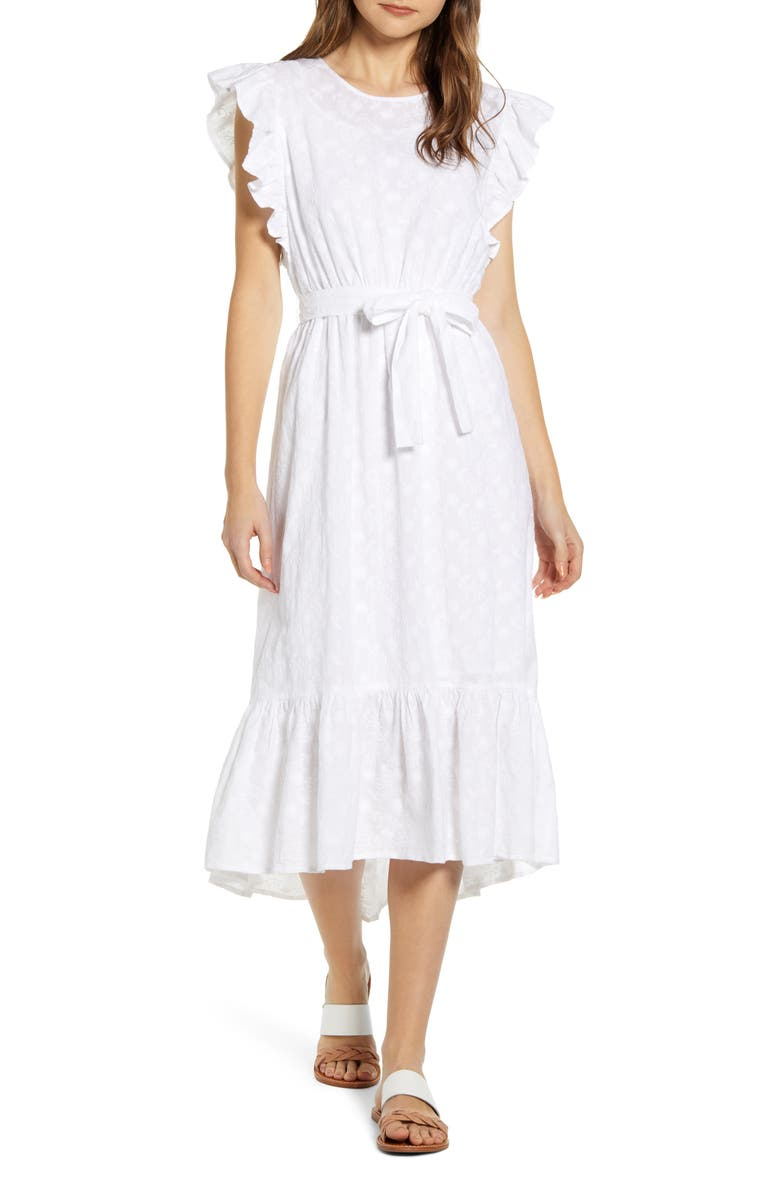 LUCKY BRAND Reese Flutter Sleeve Embroidered Cotton Dress, Main, color, 110