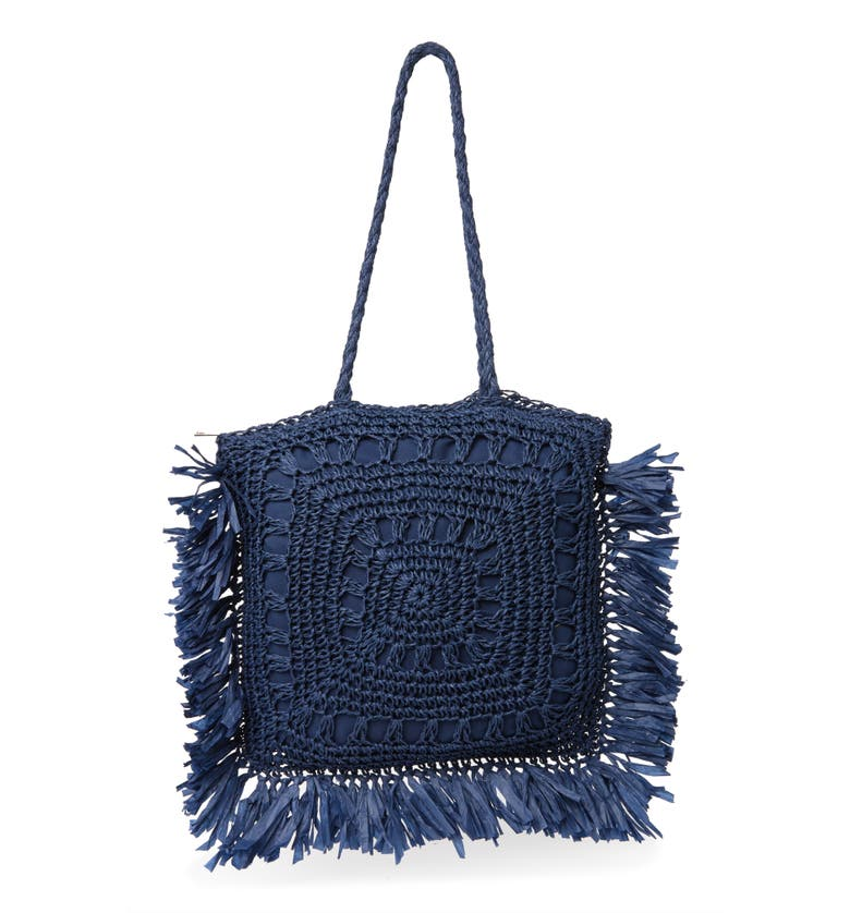 MOST WANTED USA Seagrass Woven Tote, Main, color, BLUE
