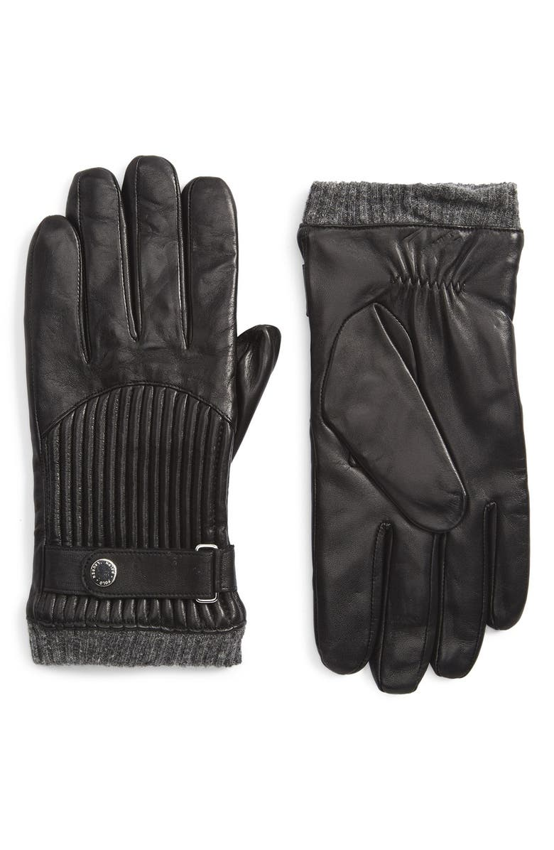 POLO RALPH LAUREN Leather Gloves, Main, color, 001