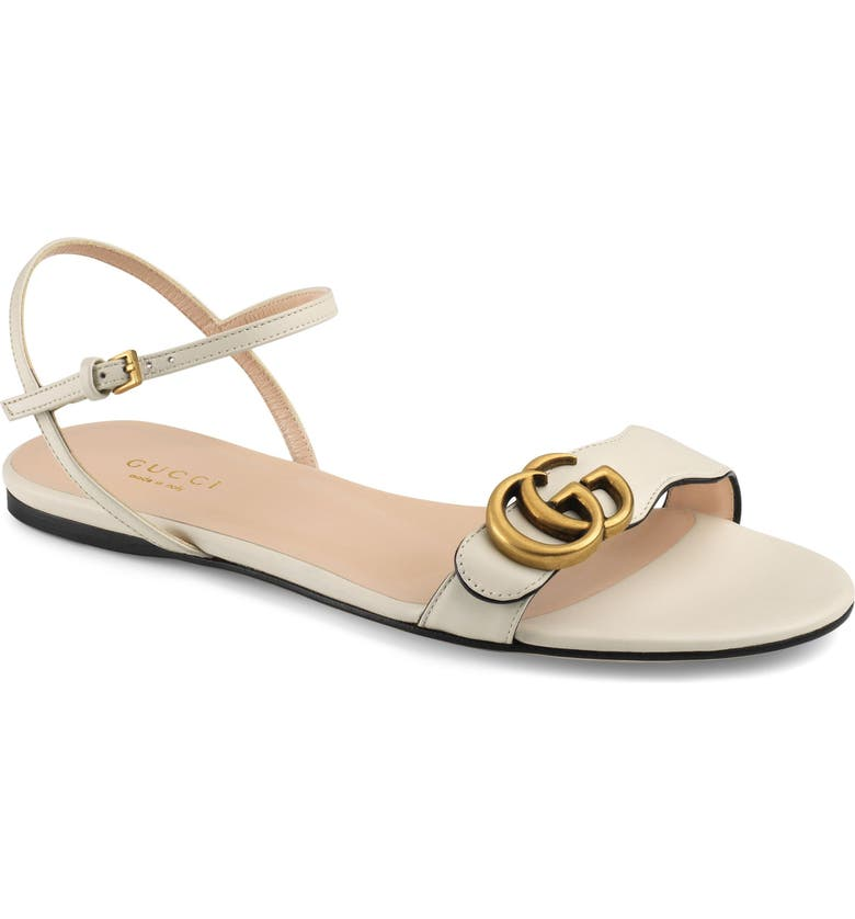 GUCCI Quarter Strap Flat Sandal, Main, color, MYSTIC WHITE