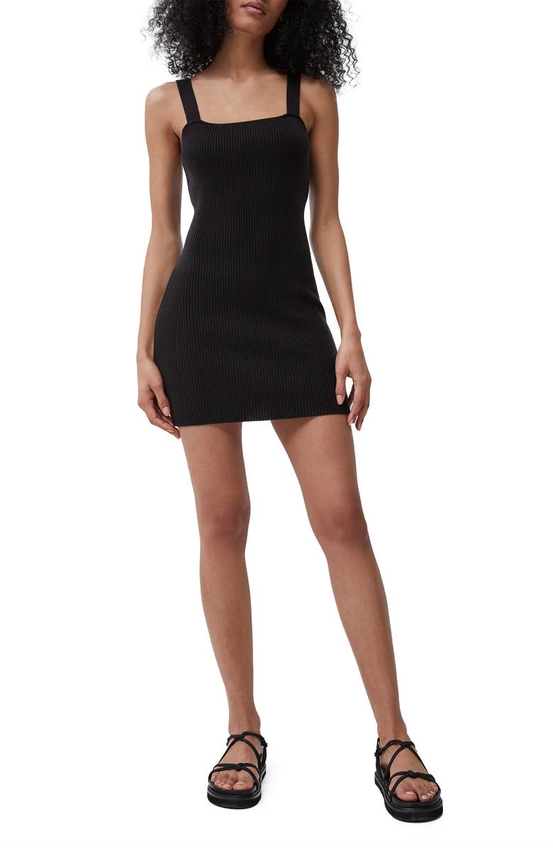 FRENCH CONNECTION Lynne Ribbed Mini Sweater Dress, Main, color, BLACK