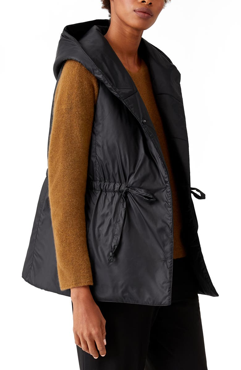 EILEEN FISHER Recycled Nylon Hooded Vest, Main, color, BLACK