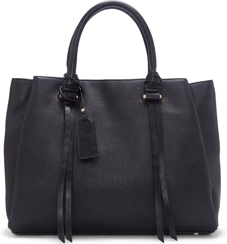SOLE SOCIETY Eban Faux Leather Satchel, Main, color, 001