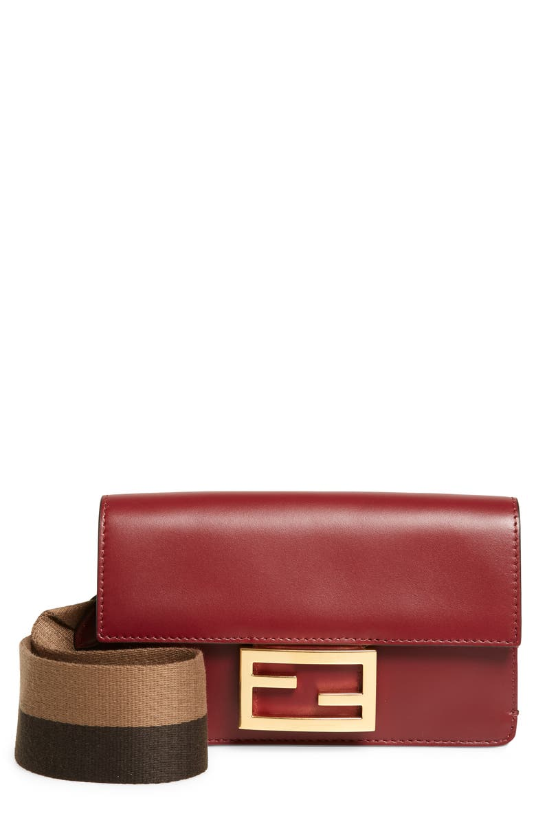 FENDI Baguette Guitar Strap Wallet, Main, color, BAROLO