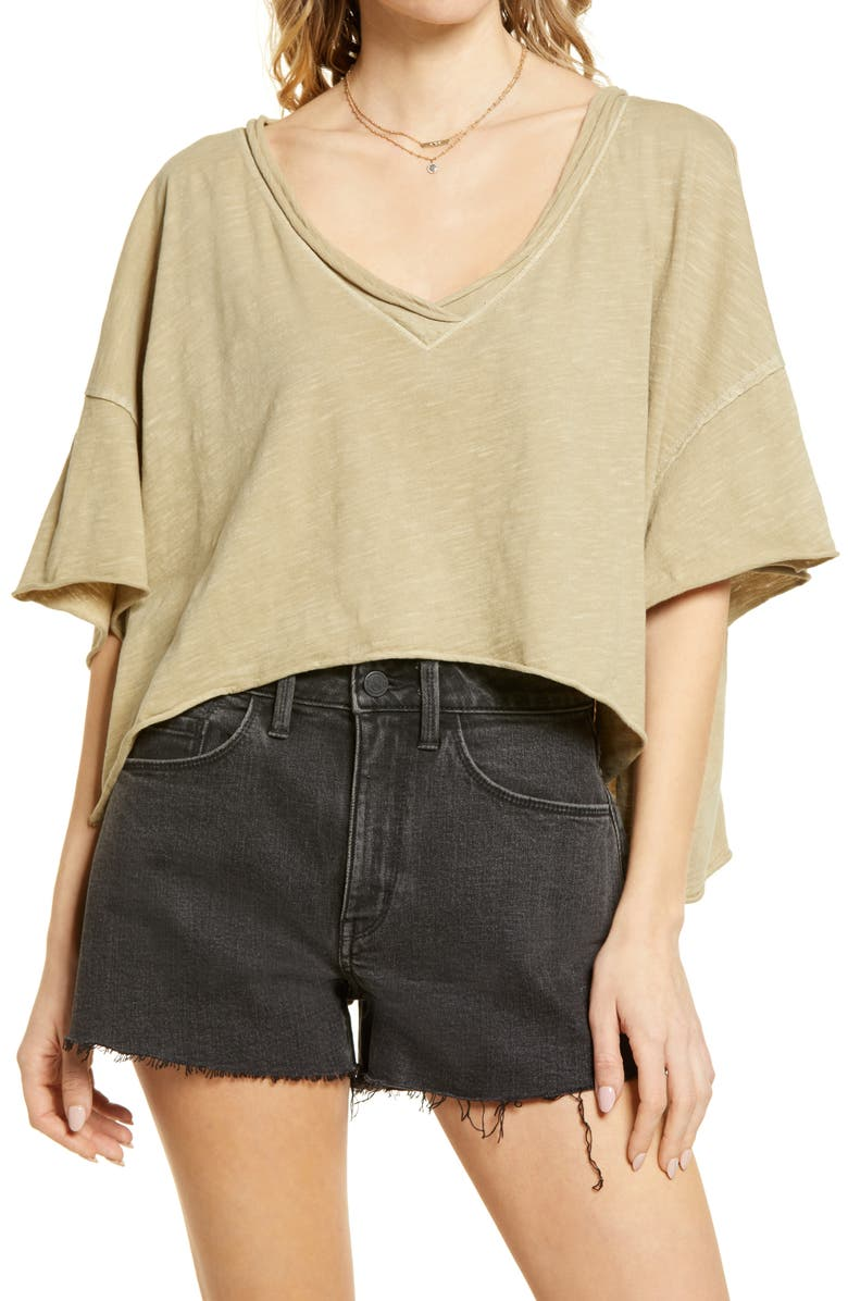 FREE PEOPLE We the Free by Free People Cally T-Shirt, Main, color, GREEN CLAY